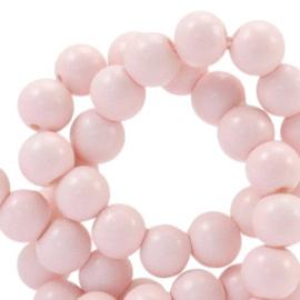 Glaskraal 8 mm  half mat licht roze, 20 stuks