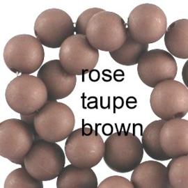 Mat acryl kralen rond 6mm Rose taupe brown, 40 stuks