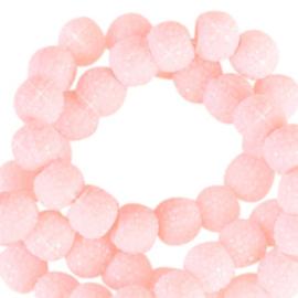 Sparkle sparkling beads 8 mm lichtroze, 10 stuks