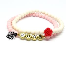 Naam armband  en bloem armbandenset. (2 armbanden)