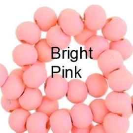 Houten kraal 6 mm rond Bright pink roze