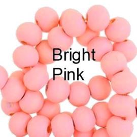 Houten kraal 8 mm rond Bright pink