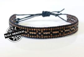 Beads armbandje met bruine en zwarte accenten