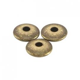 DQ metaal disc kraal 4x1.5mm Antiek brons (nikkelvrij)