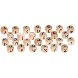 houten vierkante alfabetkralen 10x10mm, per stuk, prachtige kwaliteit
