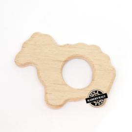 Houten bijtring hout  schaapje  * 8x5,5 cm.