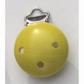 Speenclip hout, geel 35 mm