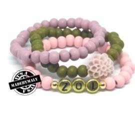 Zelfmaakpakket: Houten kralen: prachtige naam armband, bloem armband  en uni armbandenset meisje. (3 armbanden).  Kies zelf je kleuren