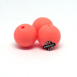 Siliconen kralen 12 mm. groot, rozeoranje , per stuk