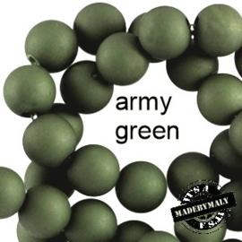 Mat acryl kralen rond 6mm Army green, 40 stuks
