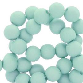 Mat acryl kralen rond 6mm faded turquoise, 40 stuks