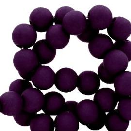 Mat acryl kralen rond 6mm paars violet, 40 stuks