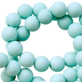 8 mm kralen van acryl mat Faded turquoise, 30 stuks
