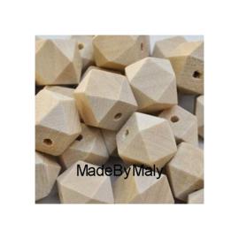 Grenen houten hexagon facet kraal 20 mm. groot, blank, per stuk