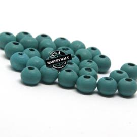 Houten kraal 8 mm rond diep groenblauw