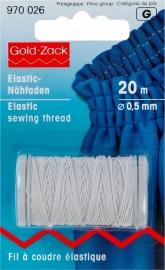 elastisch garen wit 0,5 mm. dik, klosje van 20 meter - elastiek