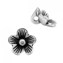 DQ bedel bloem Antiek zilver (nikkelvrij)