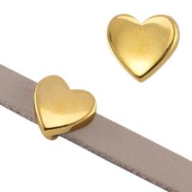 DQ Metalen schuiver hart. Maat 8,5x9x5mm. Goud (nikkelvrij)
