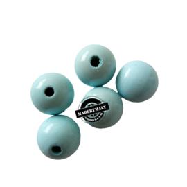 Houten kraal 15 mm rond lichtblauw