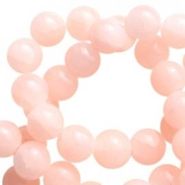 Glaskraal 8 mm crackled opal Peach orange, 30 stuks