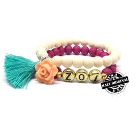 Naam armband en armband met bloem en kwastje  (2 armbanden)