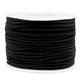 Koord elastiek 2 mm. zwart, per meter - elastisch koord