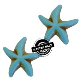 Zeester keramiek kraal turquoise blauw