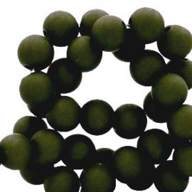 Mat acryl kralen rond 6mm heel donker groen, 40 stuks