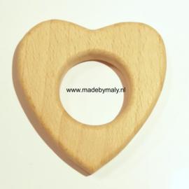 Houten bijtring hout  hart * 5x5 cm.