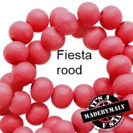 Houten kralen 8 mm rond Fiesta rood