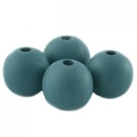 Houten kraal 12 mm Petrol Grijs Blauw