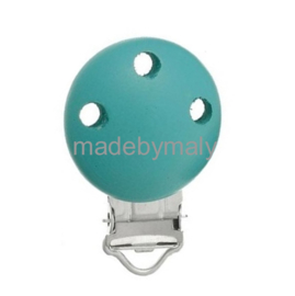 Speenclip hout, turquoise  30 mm