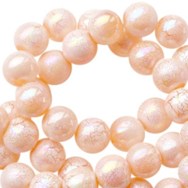 8 mm acryl kralen marble pearl Peach orange, 30 stuks