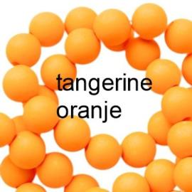 Mat acryl kralen rond 6mm Tangerine oranje, 40 stuks