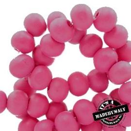 Houten kraal 8 mm rond rouge pink roze