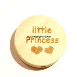 Houten schijf kraal met tekst little princess