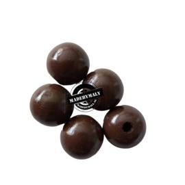 Houten kraal 15 mm rond bruin