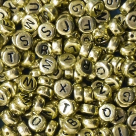 alfabetkralen goudkleurig, per stuk