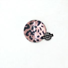 Schelp kraal met luipaard motief plat (2 cm)