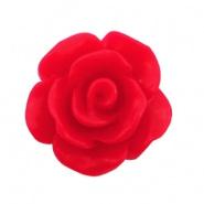 Roosje kraal 10mm matt scarlet rood
