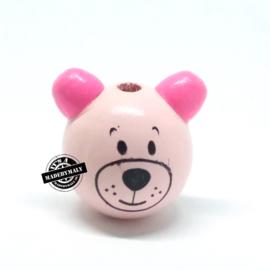 Houten kraal beer roze