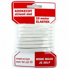 Elastisch koord6 mm. wit - koord elastiek -