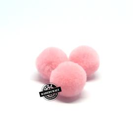 pompom roze * 15 mm - per 10 stuks