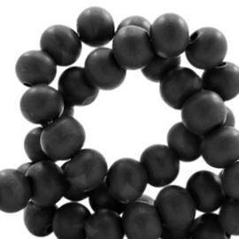 Houten kraal 12 mm. zwart