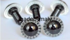 1 paar poppen ogen - veiligheids ogen 14 mm uilenogen doorzichtig/wit