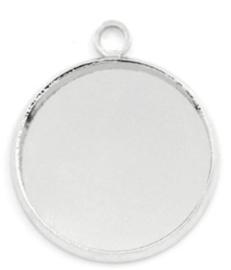 zilverkleurige setting met 1 oog voor 12 mm cabochon - antiek zilver (nikkelvrij