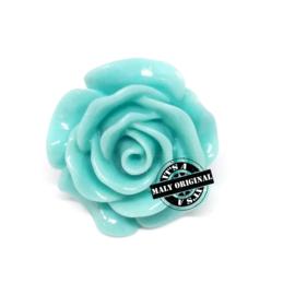 Roos bloem kraal 28 mm turquoise