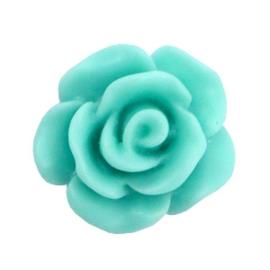 Roosje kraal 10mm matt Turquoise