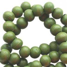 Houten kralen 8 mm rond Army Groen