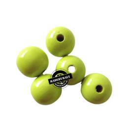 Houten kraal 15 mm rond limegroen